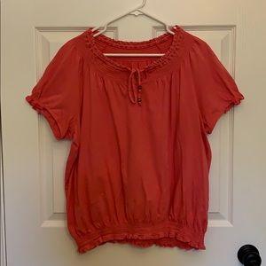 Pink short sleeve shirt blouse